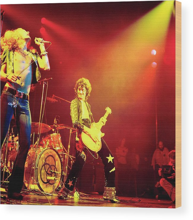 Led Zeppelin Wood Print featuring the photograph Photo Of Jimmy Page And Led Zeppelin by David Redfern