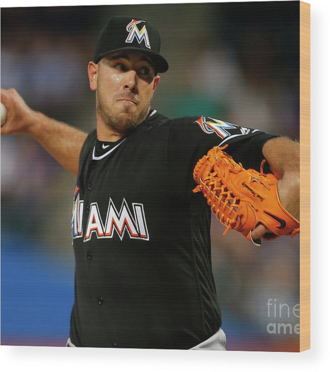 People Wood Print featuring the photograph Miami Marlins V New York Mets by Rich Schultz