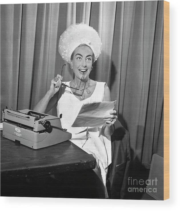 Typewriter Wood Print featuring the photograph Cbs by Cbs Photo Archive