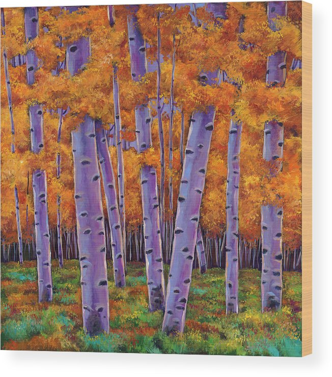 Aspen Trees Wood Print featuring the painting A Chance Encounter by Johnathan Harris