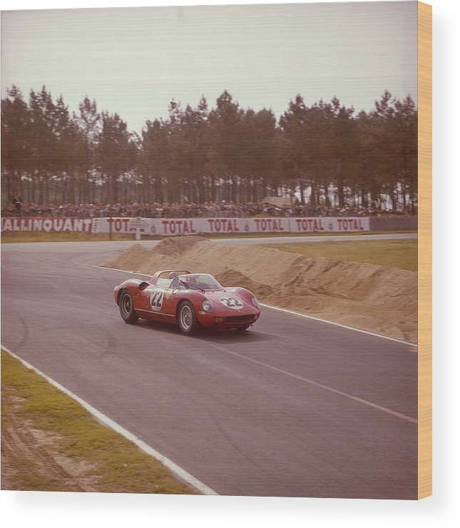 People Wood Print featuring the photograph A Ferrari 250 P At Le Mans, France by Heritage Images