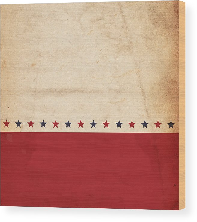 Holiday Wood Print featuring the photograph A Patriotic, Vintage Design With Stars by Nic taylor