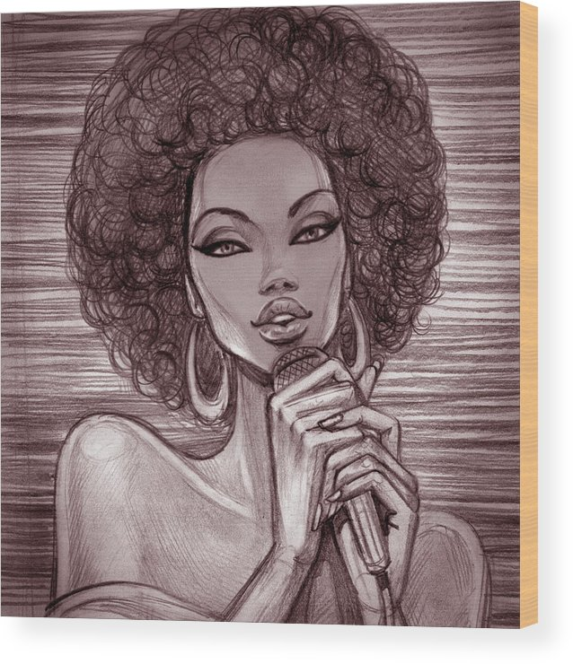 Singer Wood Print featuring the digital art A Pencil Sketch Of A Female Singer With by Tatarnikova
