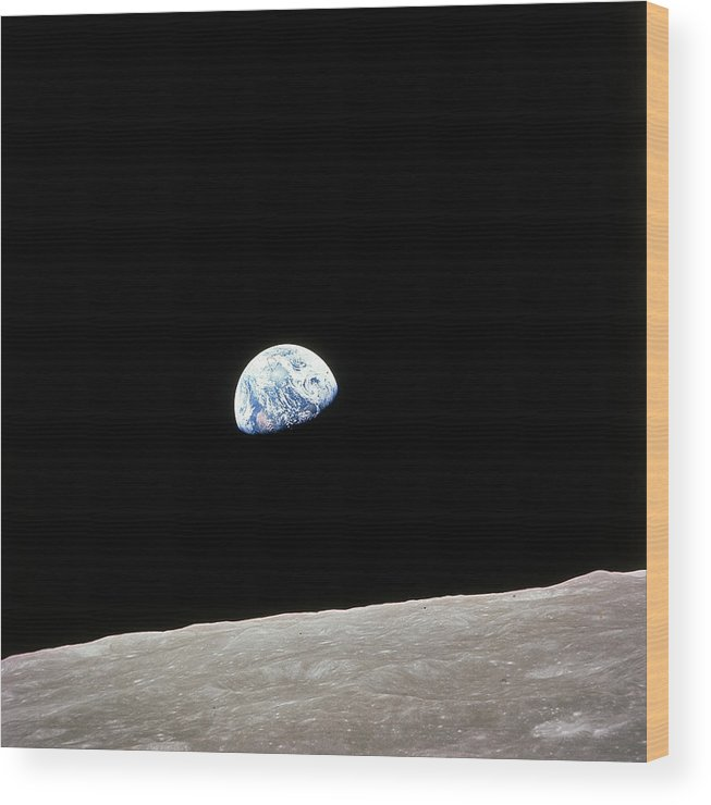 Timeincown Wood Print featuring the photograph Apollo 8 View Of Earth Rise Over The Moo by Time Life Pictures