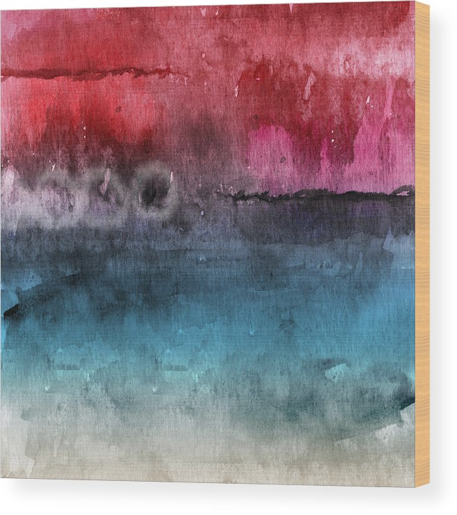 Abstract Wood Print featuring the painting Awakened 4- Abstract Art by Linda Woods by Linda Woods