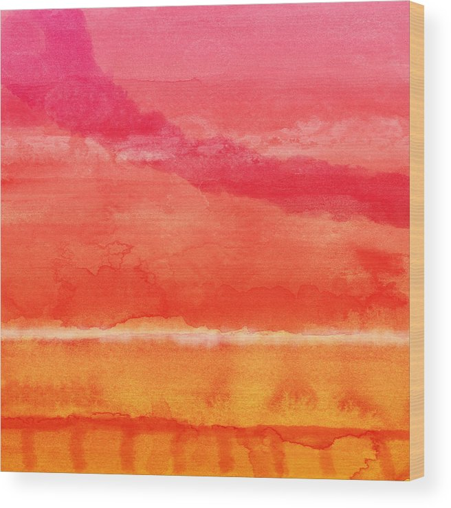 Abstract Wood Print featuring the painting Awakened 5 - Art by Linda Woods by Linda Woods