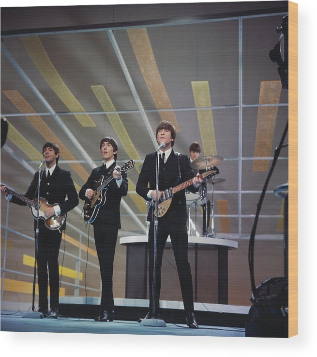 Singer Wood Print featuring the photograph Beatles On Us Tv by Paul Popper/popperfoto