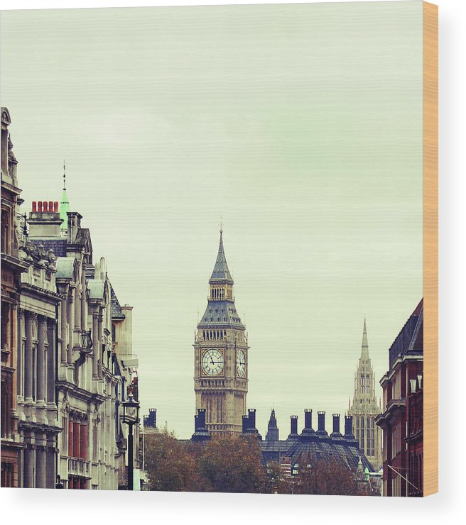 Clock Tower Wood Print featuring the photograph Big Ben As Seen From Trafalgar Square by Image - Natasha Maiolo