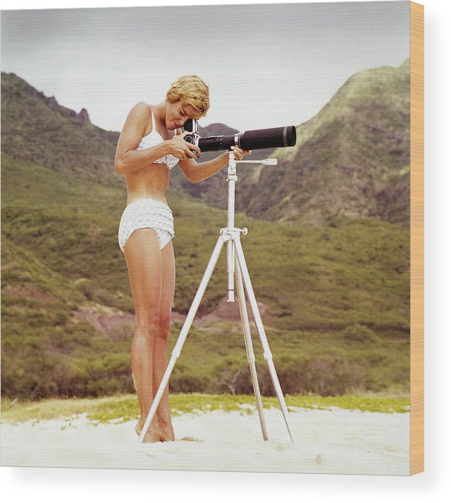 People Wood Print featuring the photograph Bikini Girl And Camera by Tom Kelley Archive