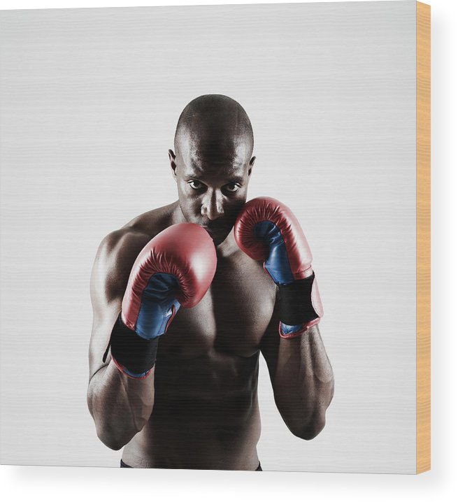 People Wood Print featuring the photograph Black Male Boxer In Boxing Stance by Mike Harrington