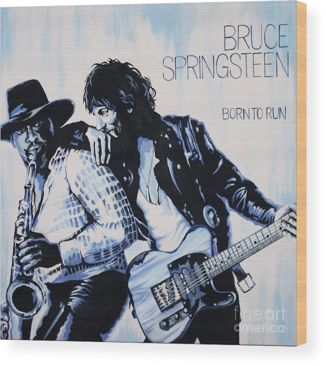 Bruce Springsteen Wood Print featuring the painting Born to Run Bruce Springsteen by Amy Belonio
