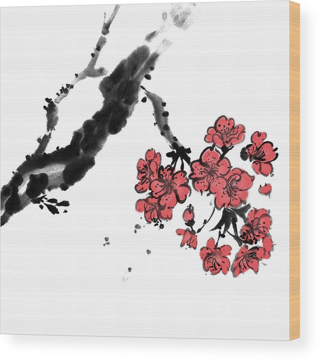 Chinese Culture Wood Print featuring the digital art Cherry Blossoms by Vii-photo
