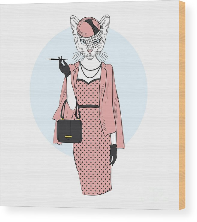 Fancy Wood Print featuring the digital art Chic Cat Woman Furry Art Illustration by Olga angelloz