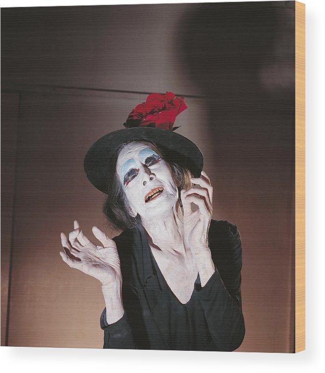 Yokohama Wood Print featuring the photograph Dance Buto, Kazuo Ohno In Yokohama by Herve Bruhat
