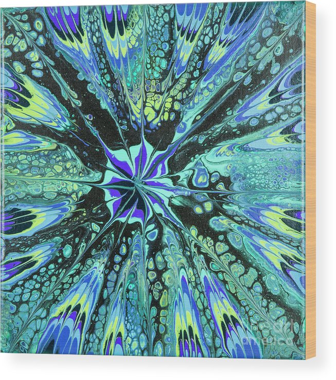 Poured Acrylics Wood Print featuring the painting Dark Star by Lucy Arnold