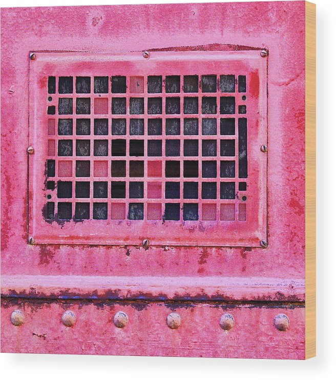 Industrial Art Wood Print featuring the mixed media Deep Pink Train Engine Vent Square Format by Carol Leigh