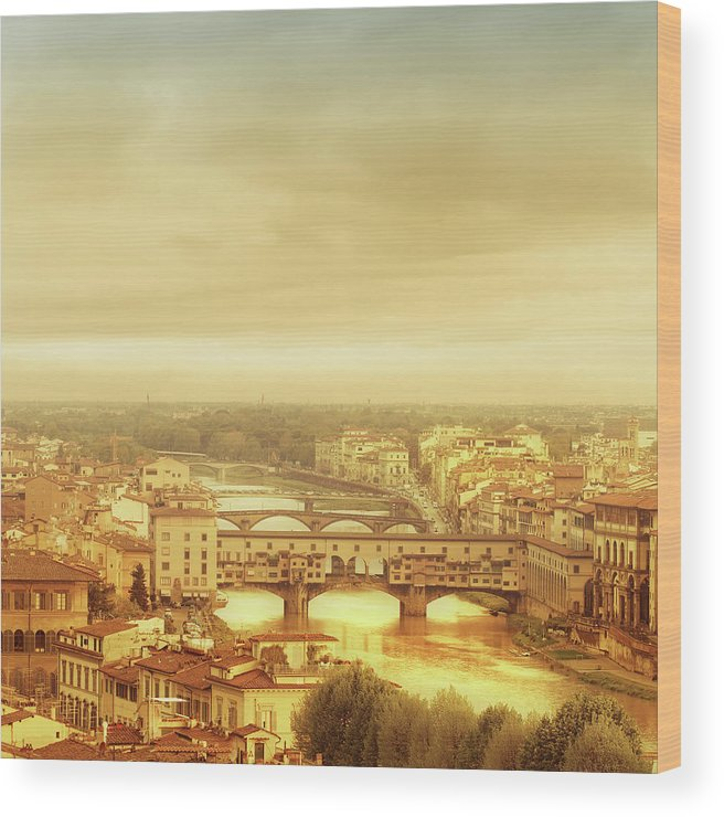 Palazzo Vecchio Wood Print featuring the photograph Florence, Ponte Vecchio by Deimagine