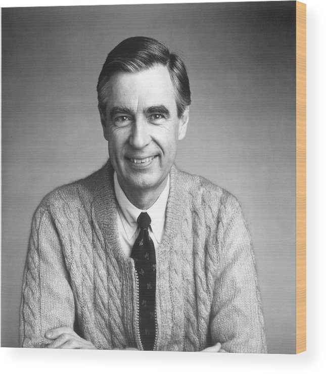 Fred Rogers The Host Of The Childrens Wood Print By Getty Images