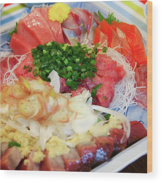 Japanese Food Wood Print featuring the photograph Fresh Sashimi Raw Fish Plate At Home by Ippei Naoi