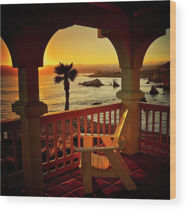 Nature Wood Print featuring the photograph Gazebo View of Central California Coast by Zayne Diamond Photographic