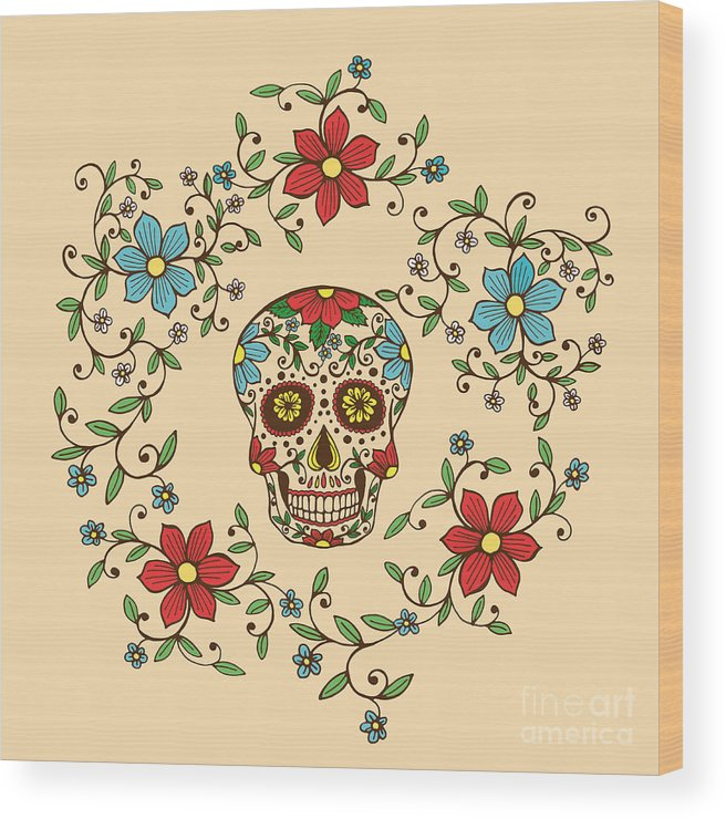 De Wood Print featuring the digital art Hand Drawn Day Of The Dead Colorful by A bachelorette