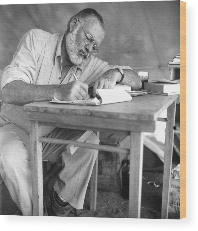 Working Wood Print featuring the photograph Hemingway On Safari by Earl Theisen Collection