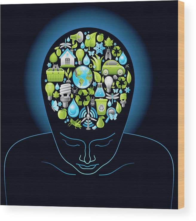 Expertise Wood Print featuring the digital art Human Head With Ecological Symbols In by O-che