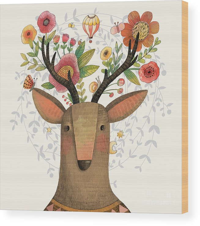 Deer Wood Print featuring the digital art Incredible Deer With Awesome Flowers by Smilewithjul