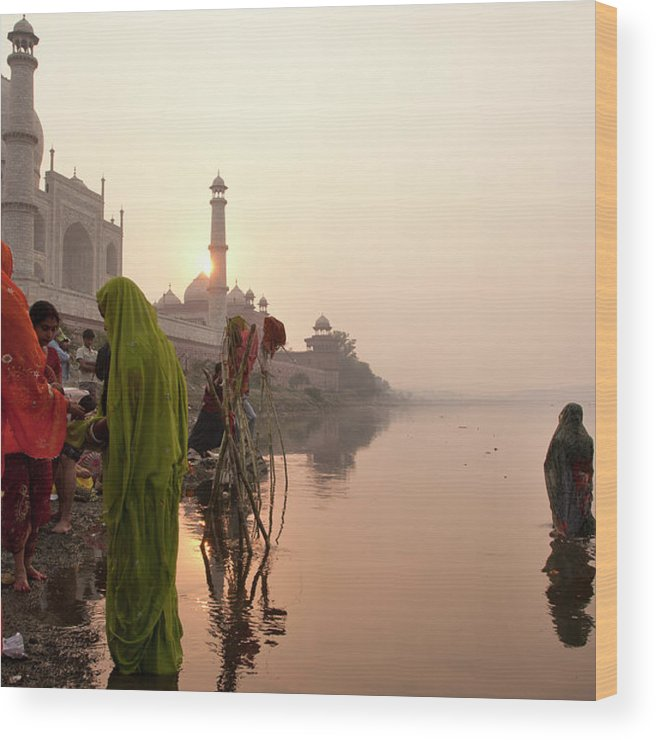 People Wood Print featuring the photograph Indian Woman,traditional Dress In Front by Partha Pal