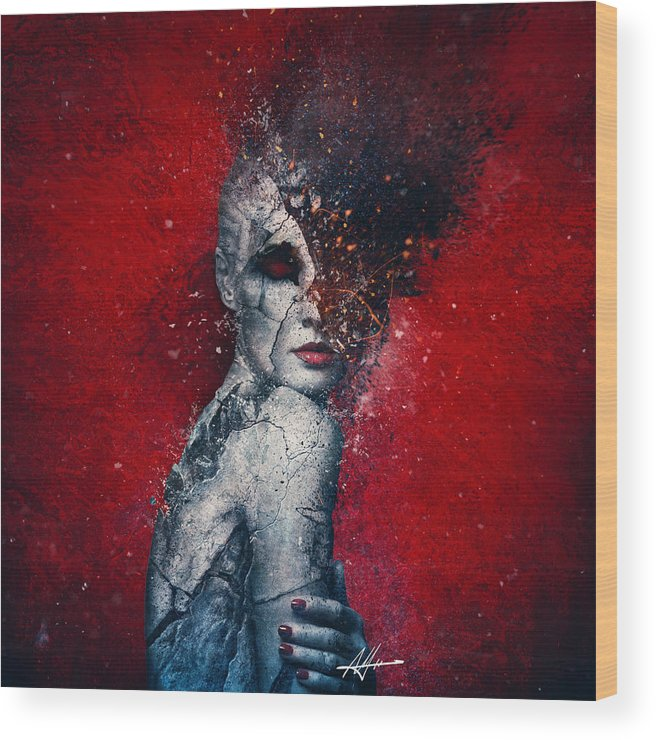 Red Wood Print featuring the digital art Indifference by Mario Sanchez Nevado