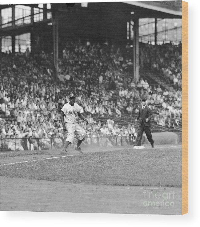 1950-1959 Wood Print featuring the photograph Jackie Robinson At Ebbets Field, 1956 by Robert Riger