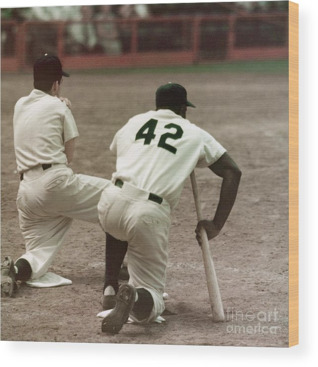 1950-1959 Wood Print featuring the photograph Jackie Robinson On Deck by Robert Riger