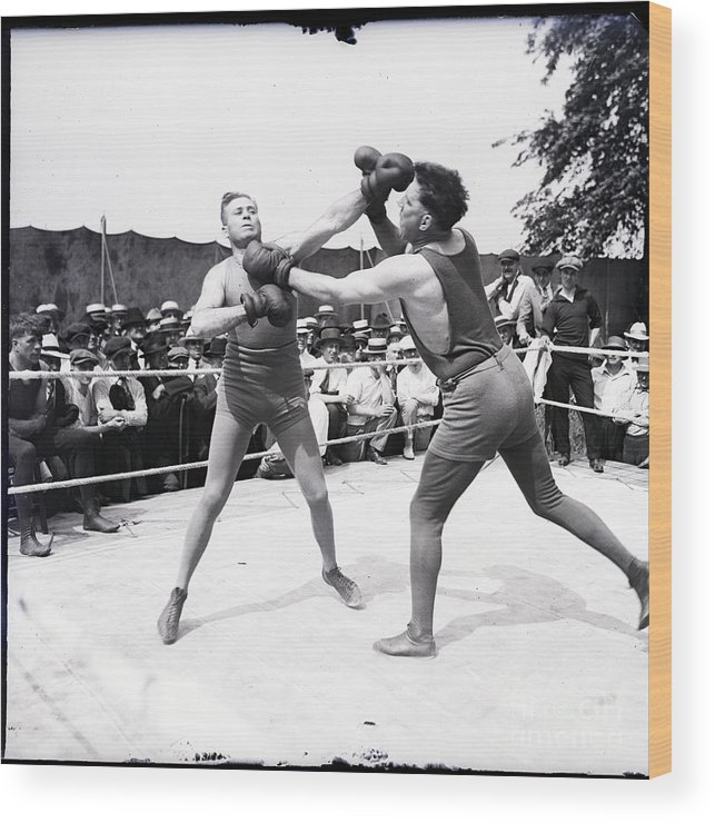 Crowd Of People Wood Print featuring the photograph Jess Willard With Walter Monahan by Bettmann