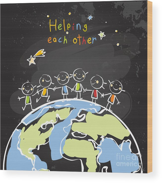Trust Wood Print featuring the digital art Kids Helping Each Other, Global by Lavitrei
