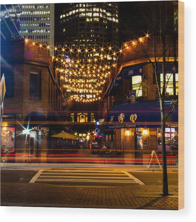 Latta Wood Print featuring the photograph Latta Arcade Light Trails by Christine Buckley