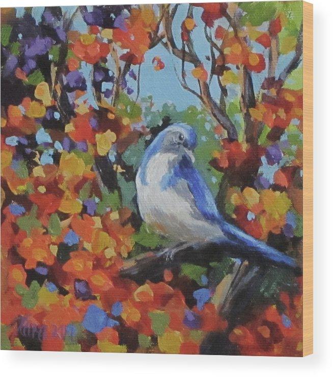 Birds Wood Print featuring the painting Little Jay by Karen Ilari
