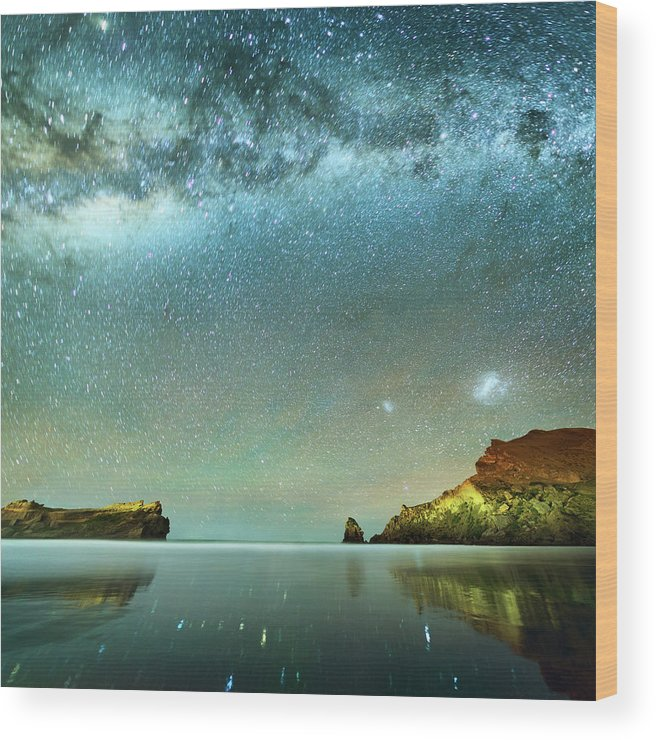 Galaxy Wood Print featuring the photograph Long Exposure Of Stars by Piskunov