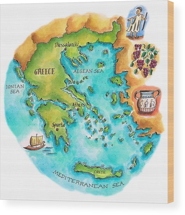 Watercolor Painting Wood Print featuring the digital art Map Of Greece & Greek Isles by Jennifer Thermes