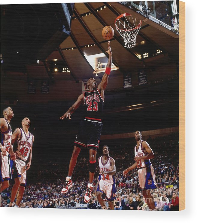 Chicago Bulls Wood Print featuring the photograph Michael Jordan Action Portrait by Nathaniel S. Butler