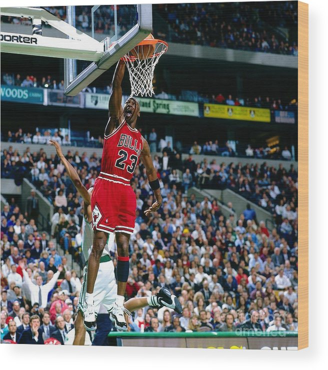 Chicago Bulls Wood Print featuring the photograph Michael Jordan Dunks The Ball by Nathaniel S. Butler
