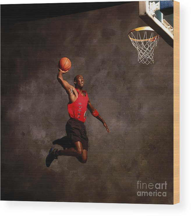 Chicago Bulls Wood Print featuring the photograph Michael Jordan Mock Action Portrait by Nba Photos