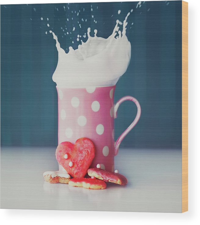 Milk Wood Print featuring the photograph Milk And Heart Shape Cookies by Julia Davila-lampe