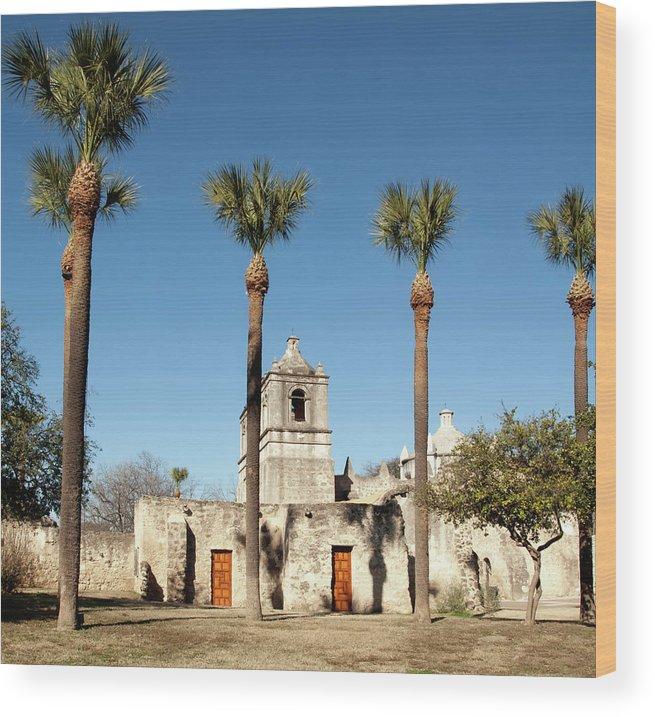 Built Structure Wood Print featuring the photograph Mission Concepcion Detail, San Antonio by Ivanastar