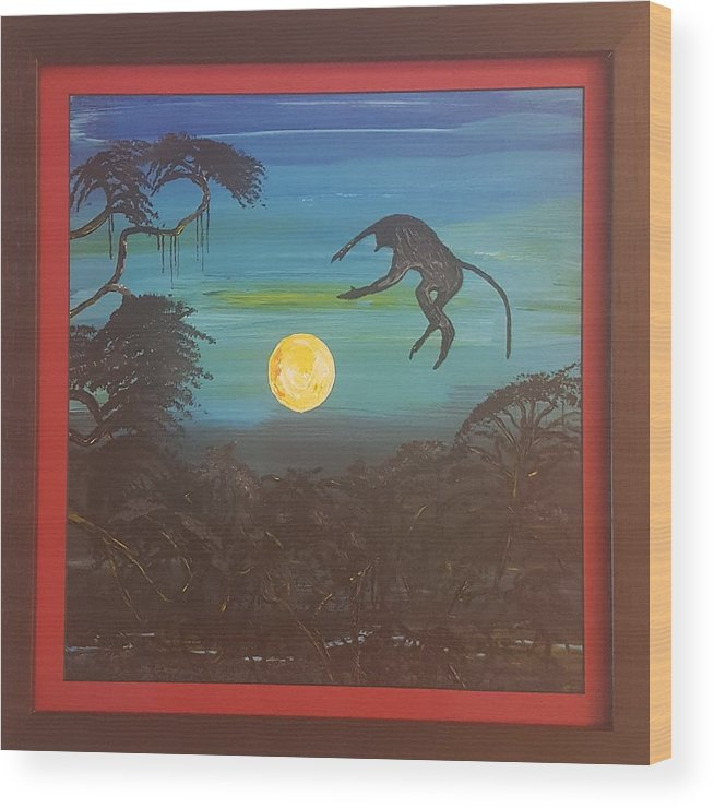 Moonlight Baboon Wood Print featuring the photograph Moonlight Baboon by Quintus Curtius