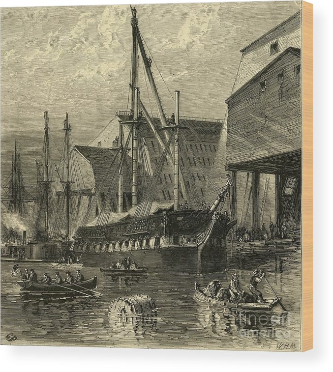 Engraving Wood Print featuring the drawing Navy Yard by Print Collector