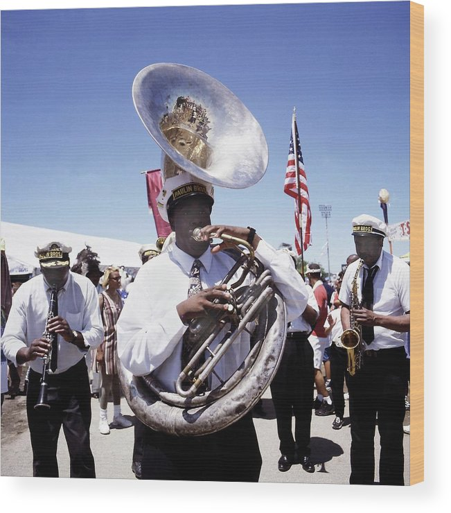 Music Wood Print featuring the photograph New Orleans Marching Band by David Redfern