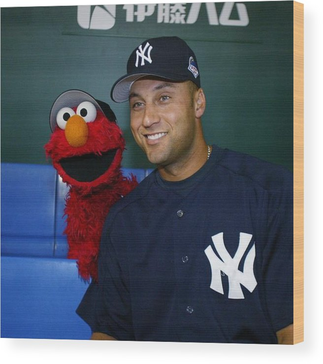 People Wood Print featuring the photograph New York Yankees Derek Jeter Relaxes In by New York Daily News Archive
