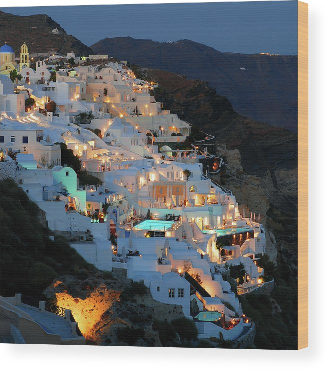 Tranquility Wood Print featuring the photograph Oia, Santorini Greece At Night by Marcel Germain