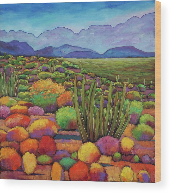 Desert Landscape Wood Print featuring the painting Organ Pipe by Johnathan Harris