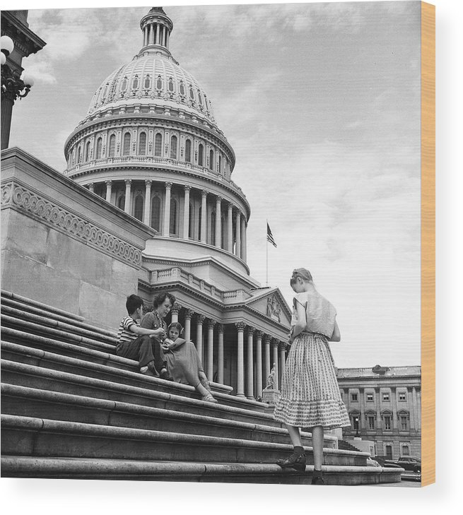 Sibling Wood Print featuring the photograph Outside The Capitol by Rae Russel